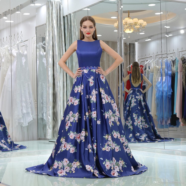 Designer Prom Dresses: 2017 Designer Print Color Blue Long Dresses Prom Jewel