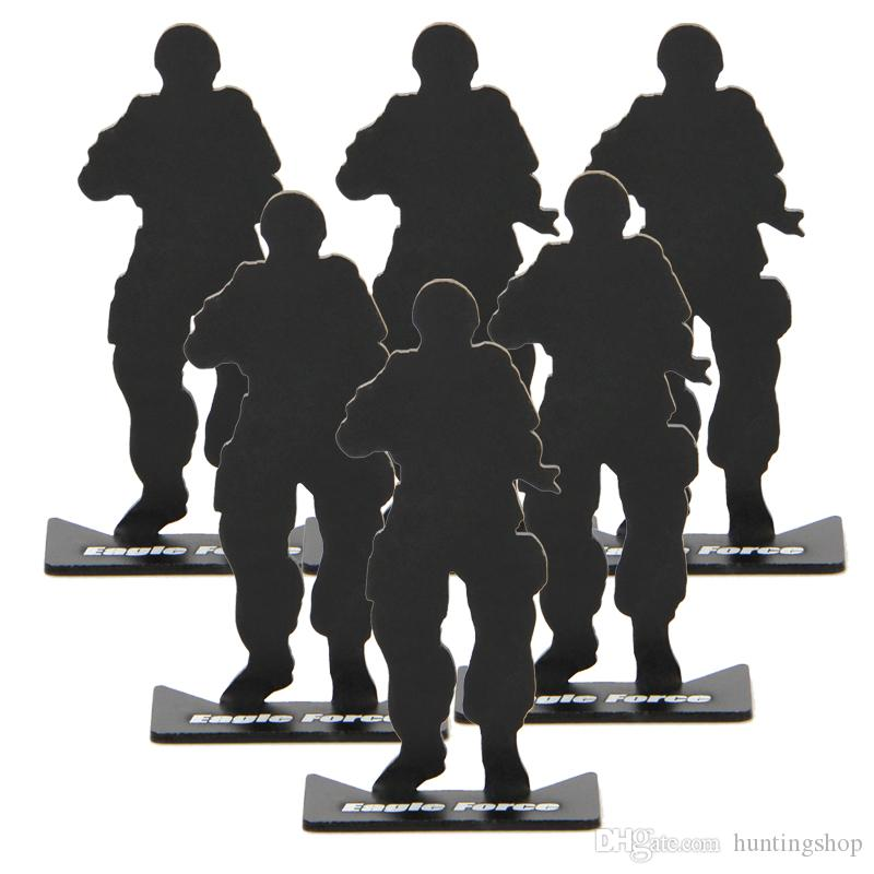 ar 15 tactical 6pcs airsoft hunting gun accessories iron metal soldier model shooting targets for hunting black