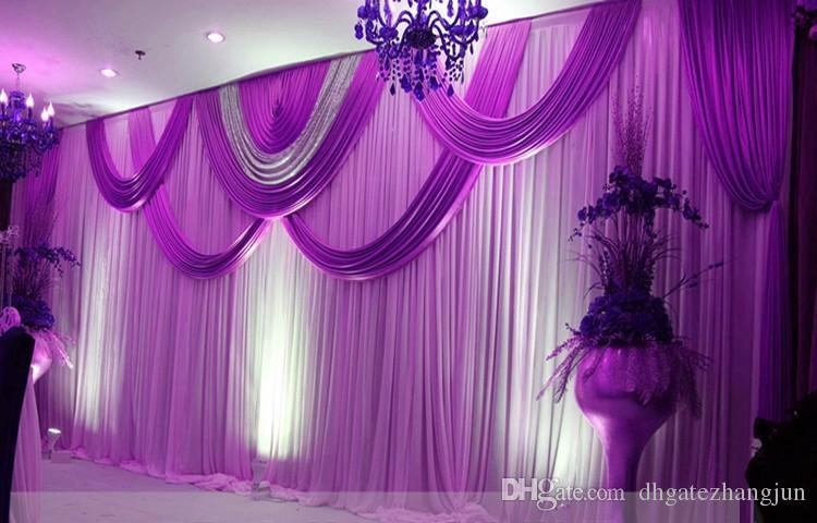 Express Free 3x6m Meter Shipping Ice Silk Свадебные сцены Фонды Украшения Романтический свадебный занавес с Swags Sequins