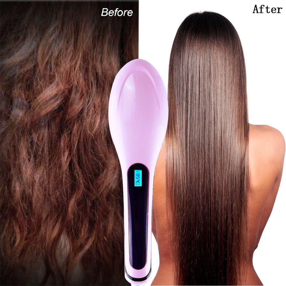 plancha de pelo LCD Eléctrico plancha de pelo peine cepillo de hierro caliente Auto Fast Hair Massager Tool pelos plancha