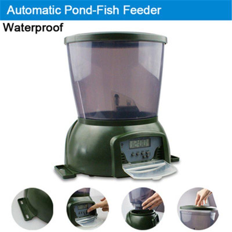大容量デジタル自動フィッシュフィーダー -  4Lフィッシュフード池水族館オートホリデー鯉フィードタイマーディスペンサー