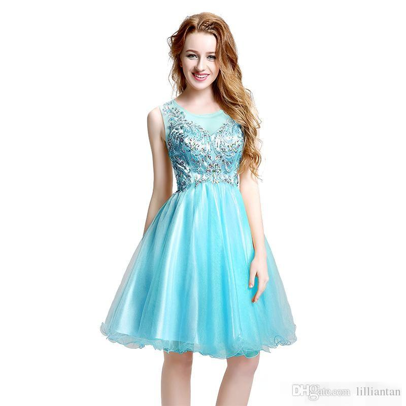 Elegant Short Tulle Cheap 8th Grade High School Graduation Homecoming Dresses Appliques Knee Length Gowns Real Images p083