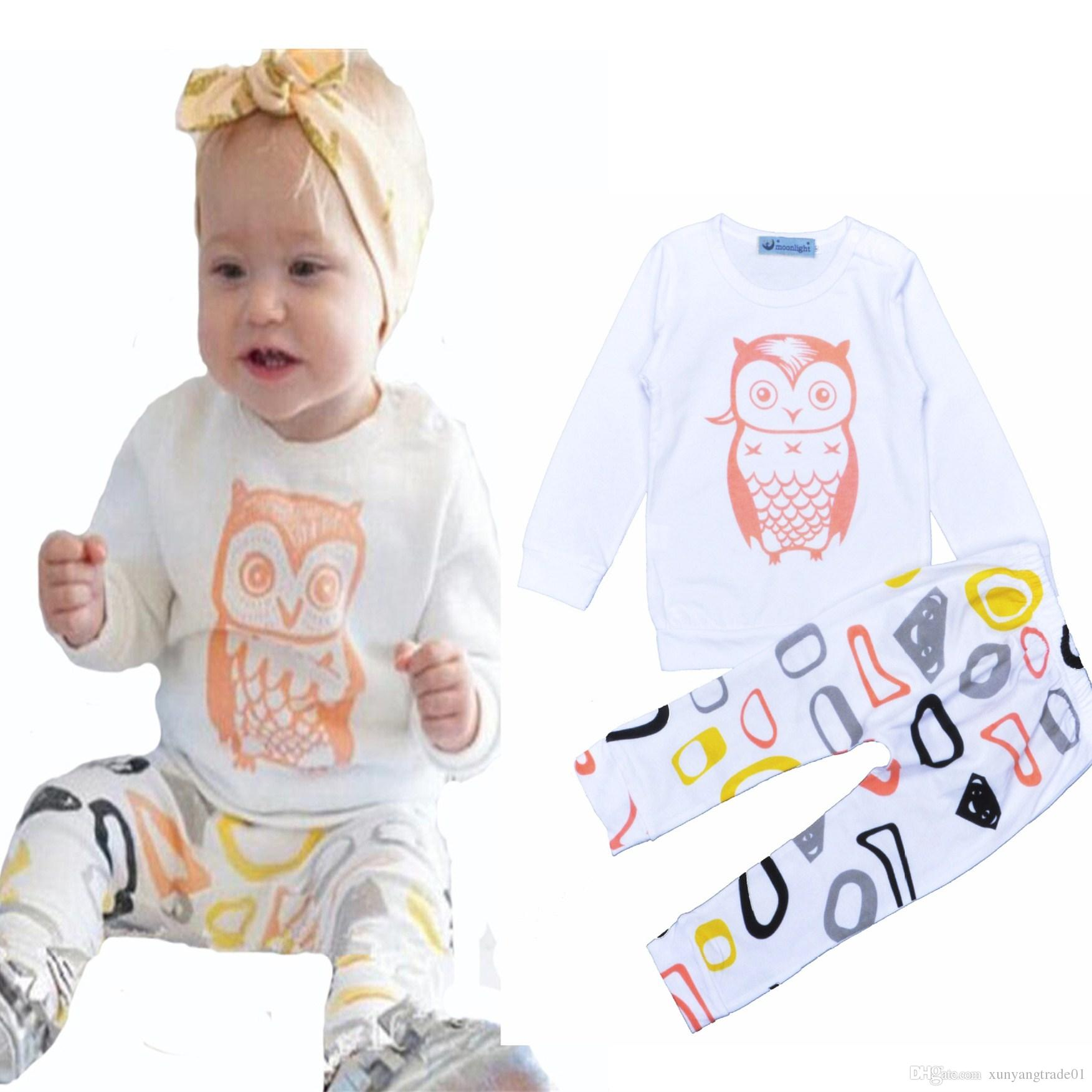 2018 Baby Boys Sets Children Set Ins Solid Color Cartoon Owl Long