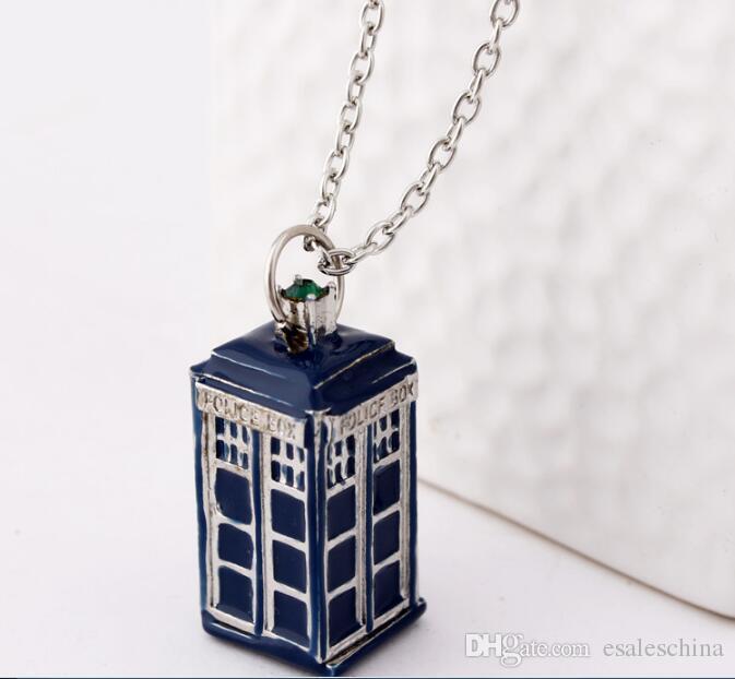 Pingente Colares Doctor Who Colar Doctor Who Europa e nos Estados Unidos cinema e televisão acessórios de alta qualidade cabine telefônica