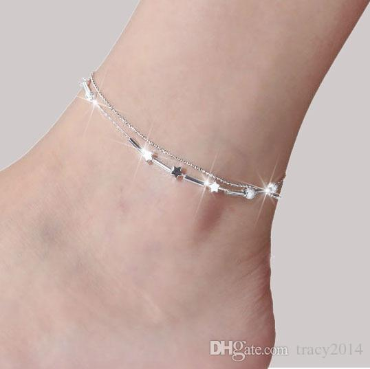 925 sterling Silver anklets jewelry for women silver plated chain clover star cross beads ankle bracelets summer beach foot jewelry