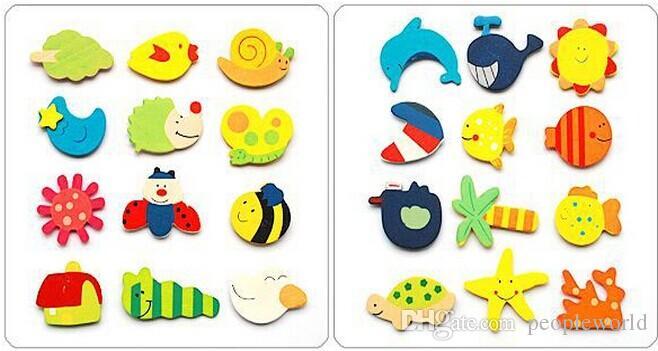 3600 adet Bebek Çocuk Ahşap Mıknatıs Eğitici Oyuncak Mutfak Dolabı Karikatür Komik Hediye