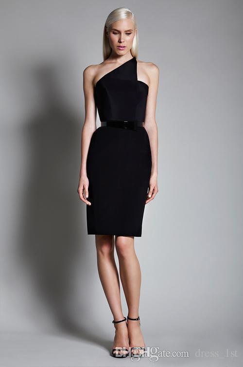 클래식 2020 한 어깨 무릎 길이 칵테일 드레스 저렴한 슈 셔츠 지퍼 다시 샤시 블랙 새틴 파티 가운 여성 맞춤 EN61613