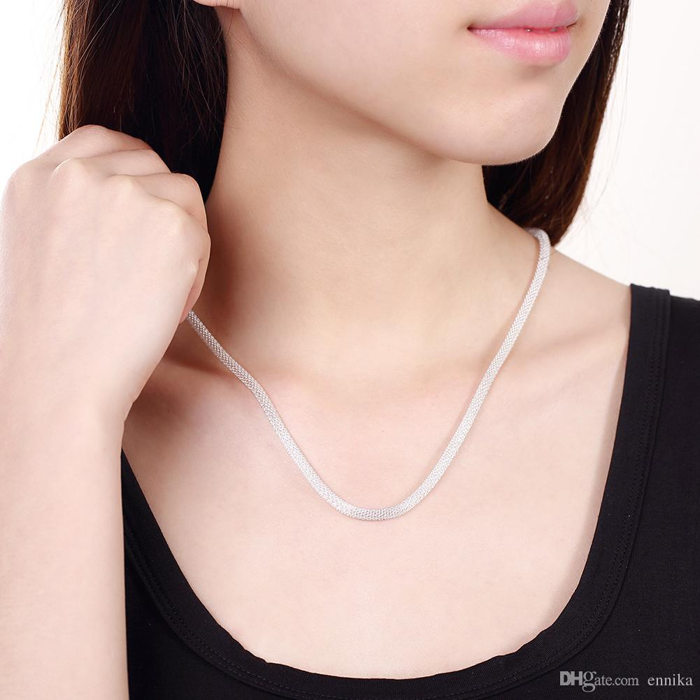 Women's Jewelry Top Sale 925 Silver Mesh Snake Chain Necklace , Fashion 925 Silver Necklaces N087