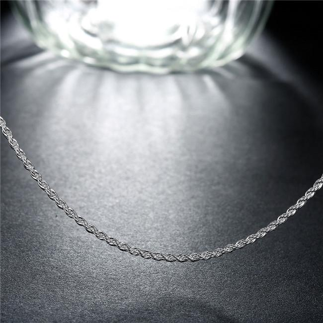 Hot sale 2MM flash twisted rope necklace sterling silver plated necklace STSN226,wholesale fashion 925 silver Chains necklace factory
