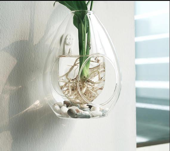 Terrarium Double Bubble Hand Blown Art Glass Hanging Sitting Double