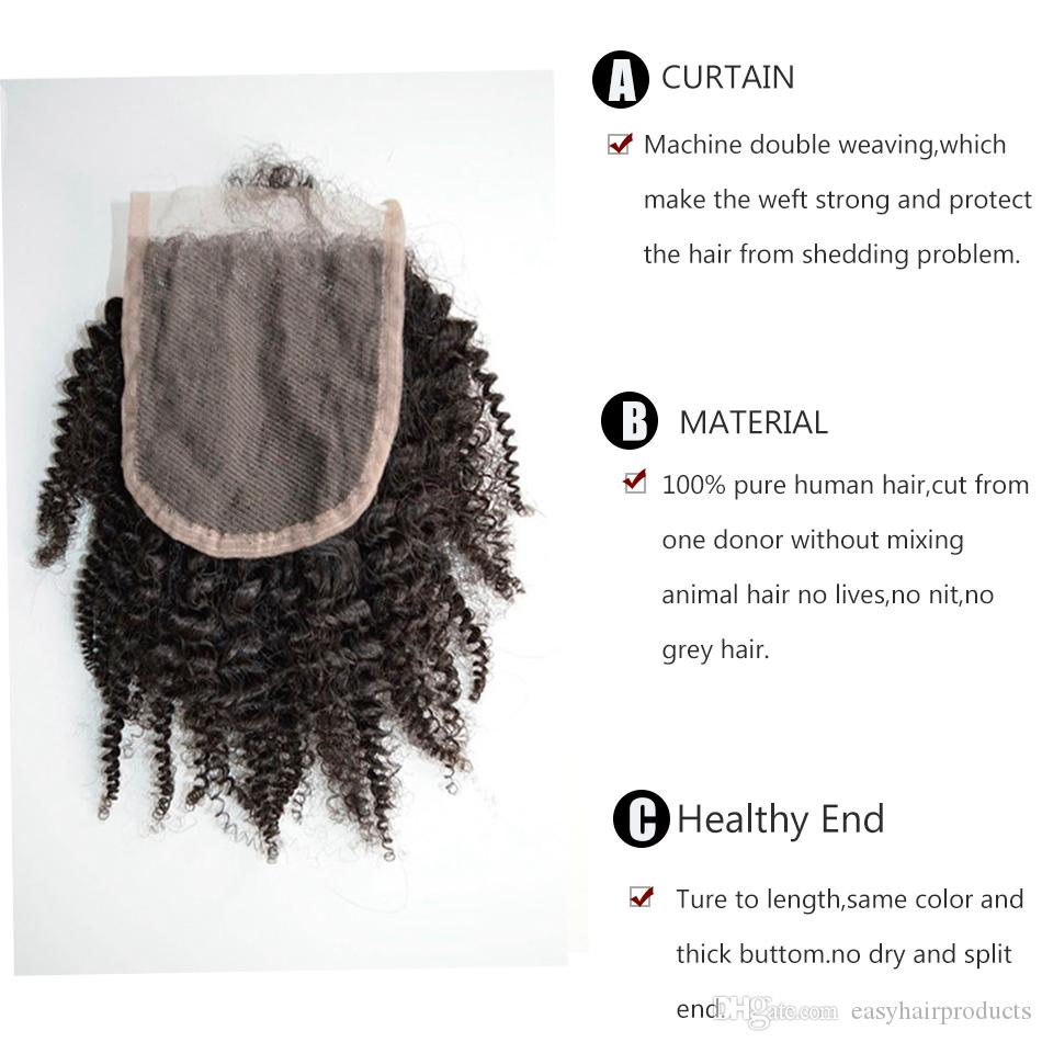 Brazilian Afro Kinky Curly Hair Bundles With Lace Closure 4x4 Free Middle Three Part 100% Human Hair Can Be Dyed G-EASY