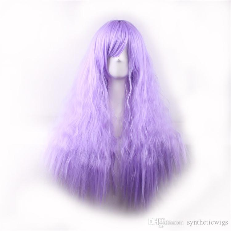 Afro Kinky Curly Synthetic Wigs African American Wigs Long Purple Wig for Black Women Perruque Synthetic Women