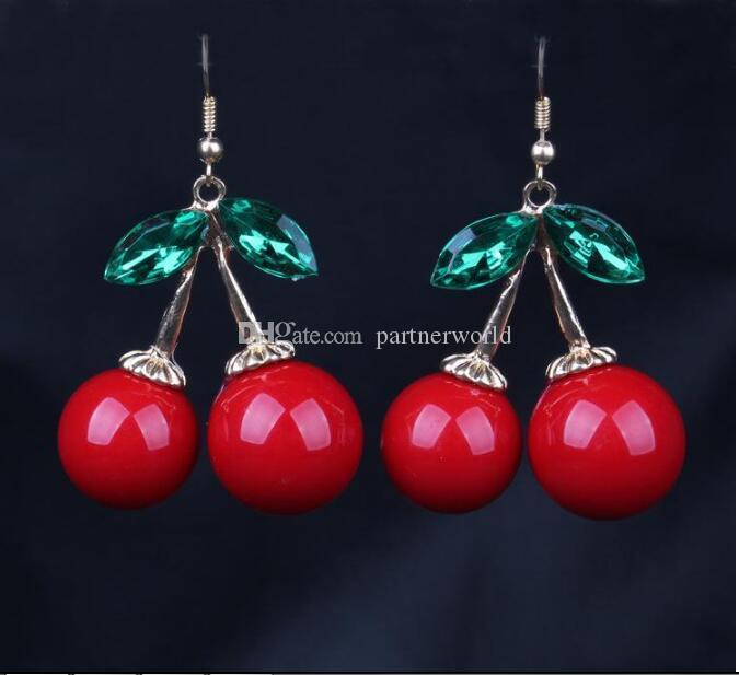 냉동 체리 매달려 귀걸이 러블리 빨간 과일 귀 스터드 크리스탈 라인 석 패션 매력 귀걸이 / E85