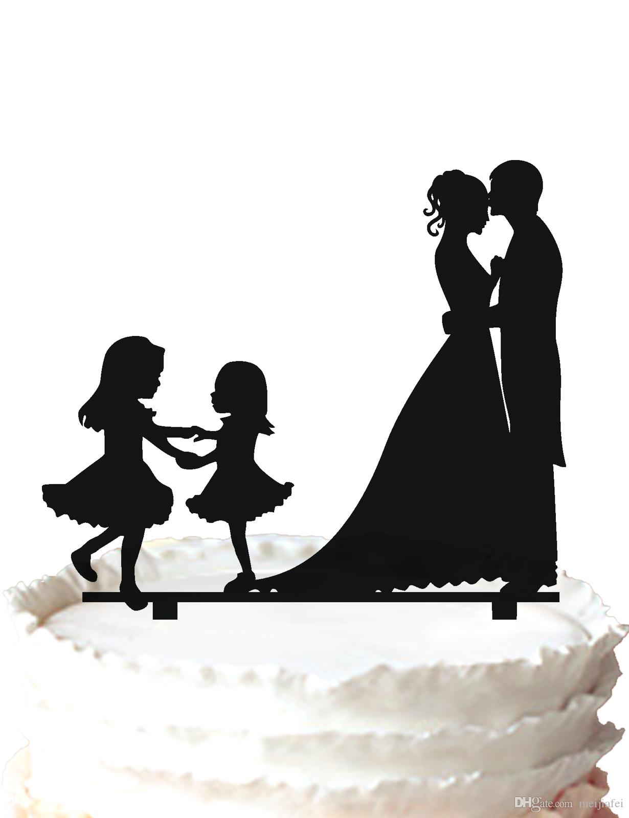 Family Wedding Cake Topper-kissing Bride And Groom And Two Girls,for ...