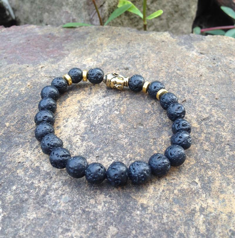SN0374 Natuursteen 8mm Zwarte Lava Bead Boeddha Armband Mode Mala Yoga Healing Lucky Bracelet Gratis verzending