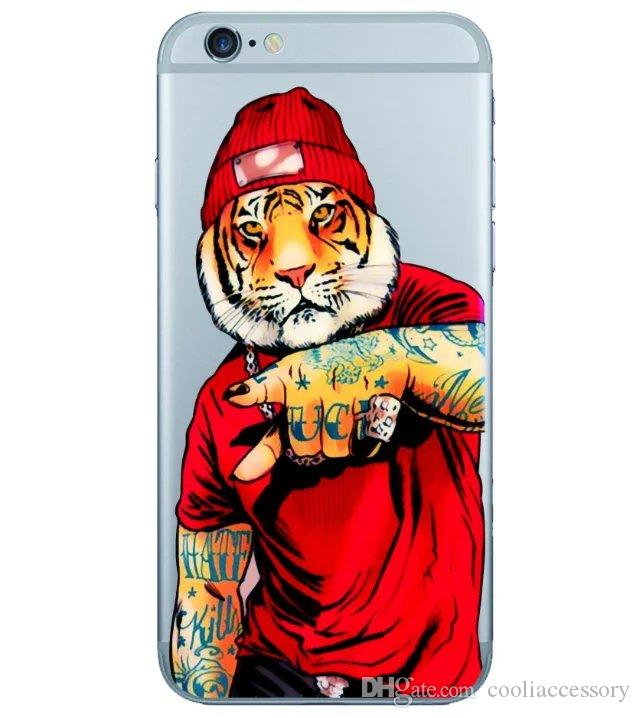 For Iphone 6S 6 Plus 4.7 5.5 I6S 6PLUS SE 5 5S 5TH 3D Cartoon Hard Plastic PC Case Tiger Cat Skull Lip Wolf Box Cell phone Animal skin Cover