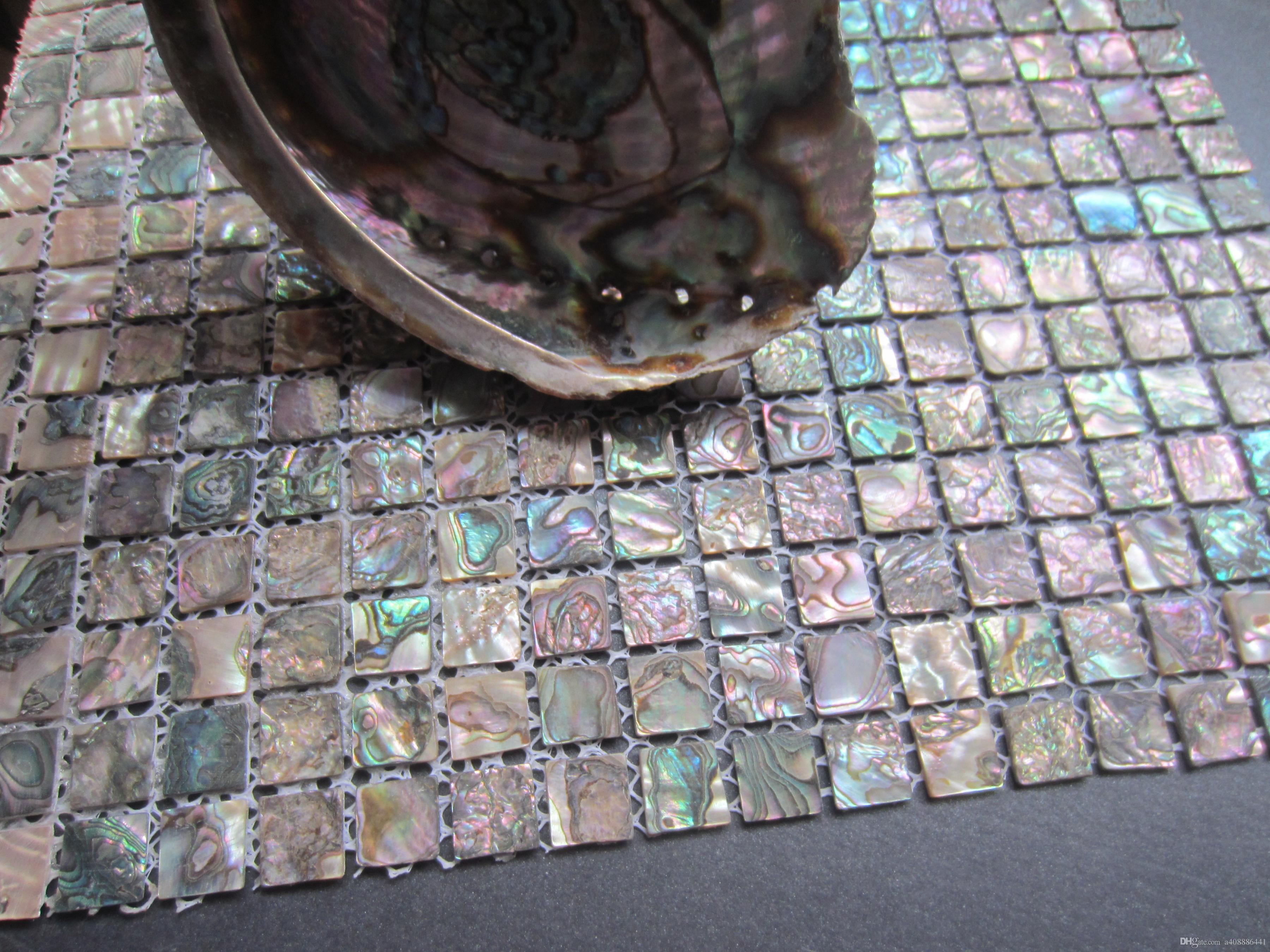 Acquista tessera mosaico abalone verde piastrelle backsplash