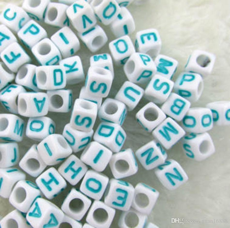 Hot ! WHITE bead SKY blue Alphabet /Letter Acrylic Cube Beads 6x6mm Big hole Beads