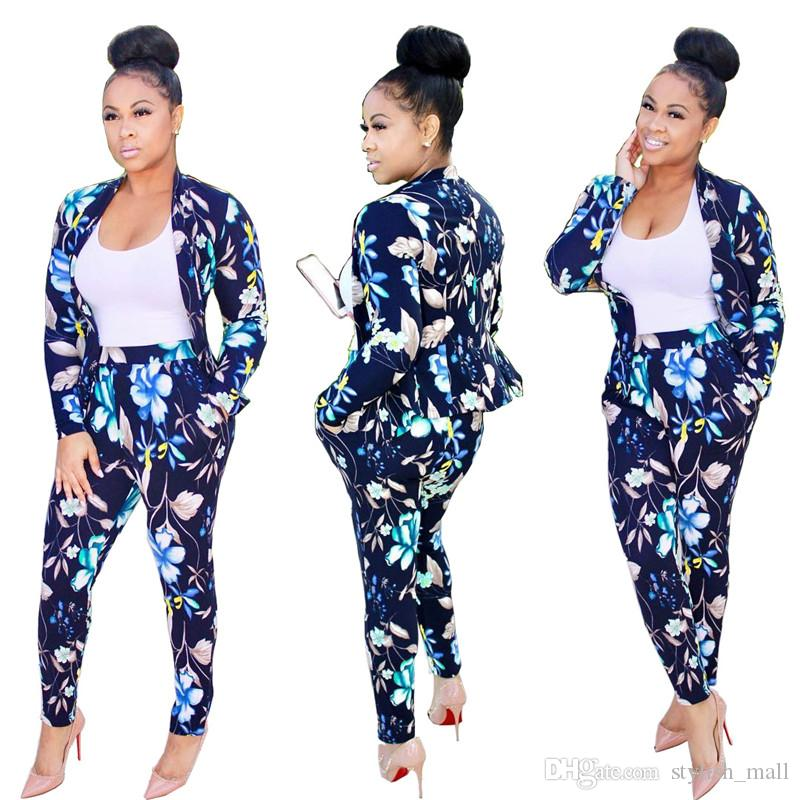 2018 Women Suit Jackets Pants Set Navy Floral Print Lapel ...