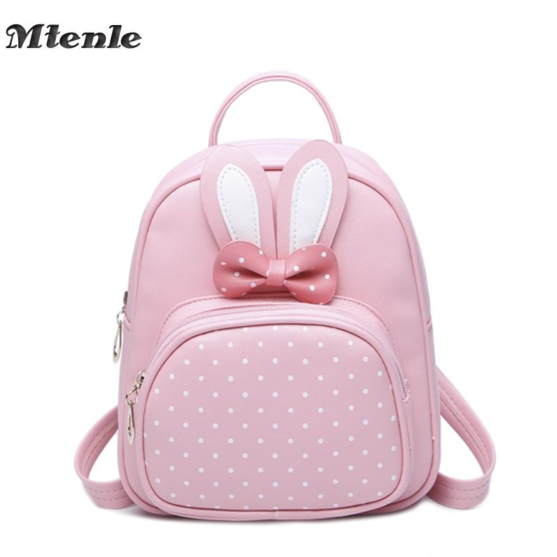 faf506b4aa Mtenle Mini Small Backpacks For Teenage Girls Bunny Cute Backpack Women  Leather Polka Dot Bow Back Bag Pink Mochila Feminina Fi Laptop Backpack  Beach Bags ...