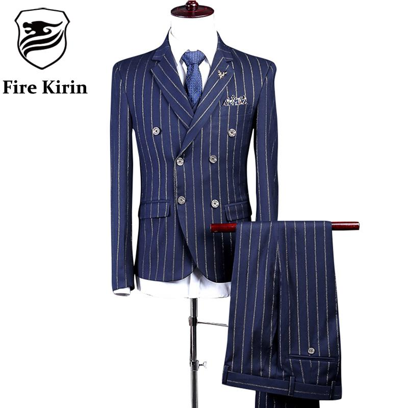 2017 Wholesale Fire Kirin Striped Suit Men 2017 Latest Coat Pant ...