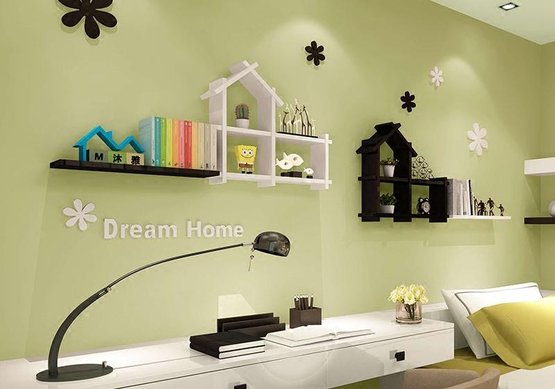 Best Small Clapboard House Room Background Wall Shelving ...