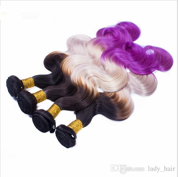9A Virgen peruana # 1B gris púrpura de tres tonos de color del pelo teje con el cierre del cuerpo onda Ombre ondulado pelo 3Bundles con 4x4 cierre de encaje