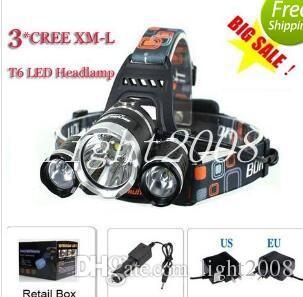 3T6 Headlamp 6000 Lumens 3 x Cree XM-L T6 Head Lamp High Power LED Headlamp Head Torch Lamp Head +charger+car charger