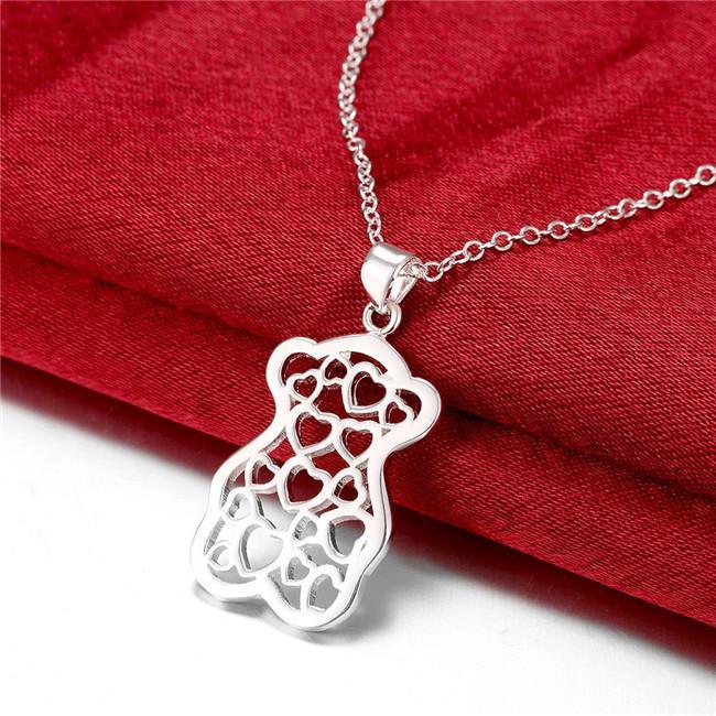 Горячая продажа женщин маленький медведь форму полой кулон ожерелье стерлингового серебра гальваническим ожерелье STSN770, способа 925 серебряное ожерелье подарка рождества