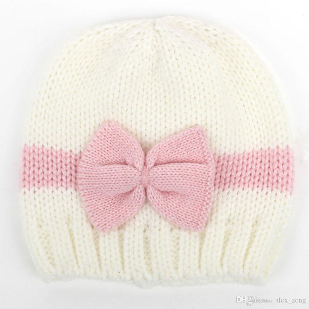 Newborn Knit Beanie Chapéus Baby Boy Meninas De Lã De Crochê Arcos Caps Criança Criança Algodão Wraps Infantil Unisex Cabelo Acessórios Fotografia Capota