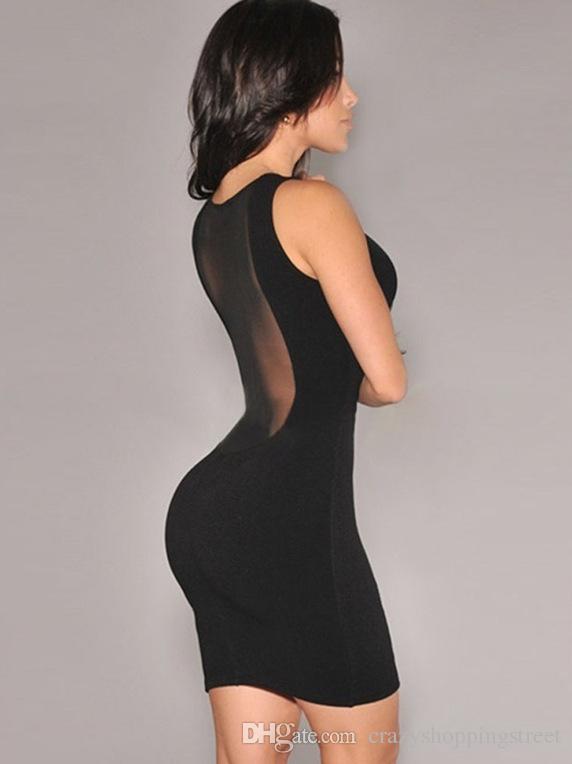 Vestito nero sottile da estate guaina Mini abiti delle donne della maglia Stitch Hollow Backless trasparente Bodycon del partito del randello sexyt Dress