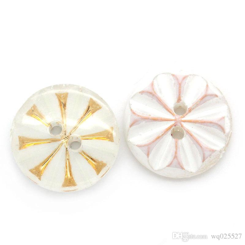 /lot1 13mm White bottom,golden pattern ,dots, round shape acrylic 2-hole sewing button sewing notions&tools acrylic buttons#00142#