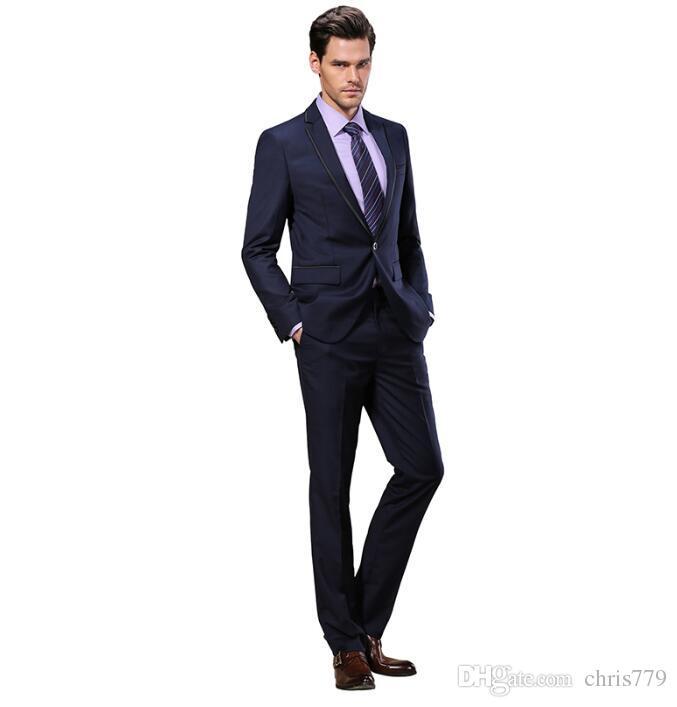 Slim Fit 2016 Groom Tuxedos Wedding Suits Custom Made Groomsmen Best Man Prom Suits Black Pants Jacket+Pantstwo-piece