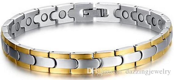 Healing Magnetic Bracelet Men/Woman 316L Stainless Steel 4 Health Care Elements Gold Silver Black Hand Chain with