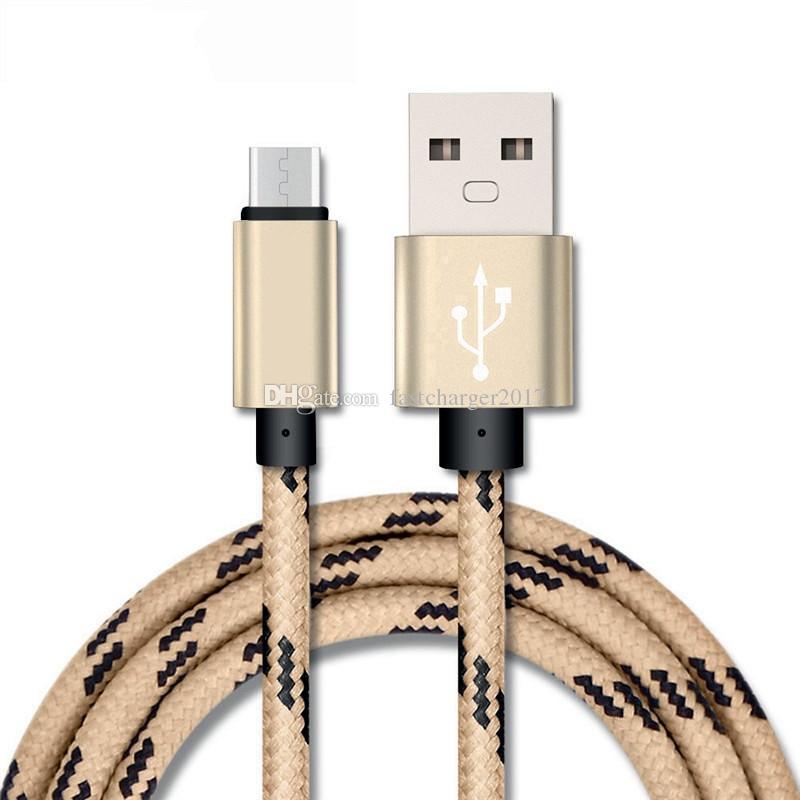 Kumaş Örgülü Kablo Mikro Tipi C USB Veri Sync Şarj Kabloları Samsung S4 S6 S7 Kenar S8 Artı HTC LG Android Telefon