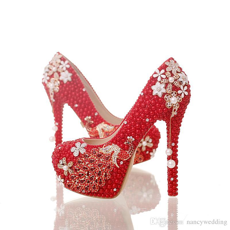 Rote Perle Braut Hochzeit Schuhe Wunderschöne Kristall Phoenix Party Prom High Heel Schuhe Prom Ereignis Pumpen Handgefertigte Gute Qualität