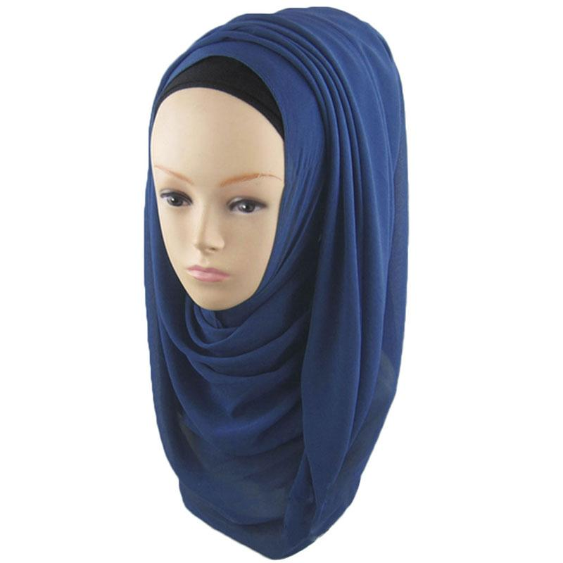 Wholesale-Women's Lady Muslim Arab Decorative Head Wrap Headscarf Cap Sunblock Shawls Islamic Hijab Turban Solid Color