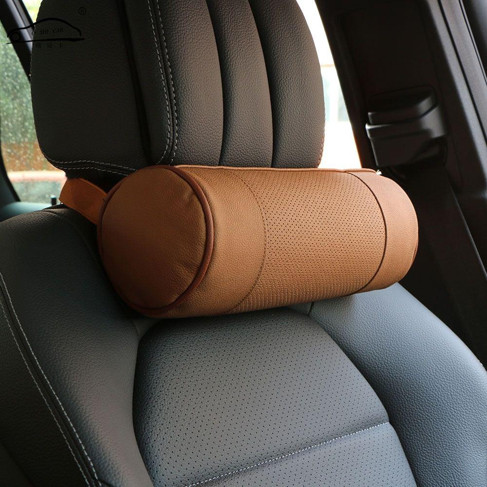 Memory Foam Car Neck Pillow/Genuine Leather Auto Cervical Round Roll ...