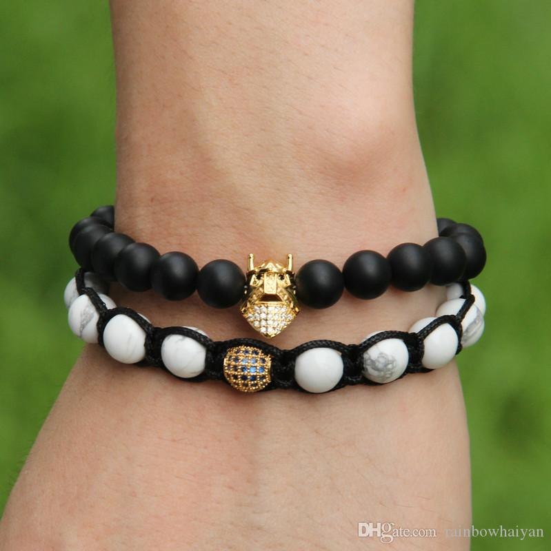 Wholesale Black Eye Micro Pave Clear Zircons Spartan masks Charms Bracelets with 8mm Black Matte Agate Stone Beads