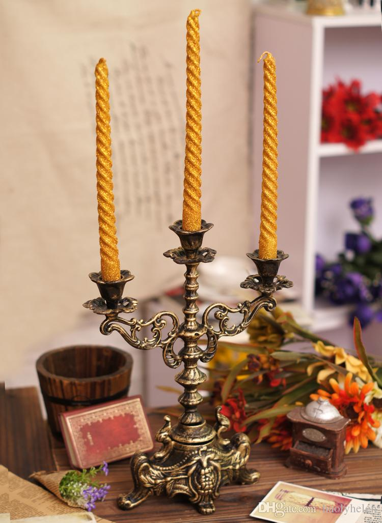 Decorative Cast Iron Candelabra Candlestick 2 Arm 3 Light Vintage Metal Candle Holder Bronze Wedding Table Desk Dinner Home Decor