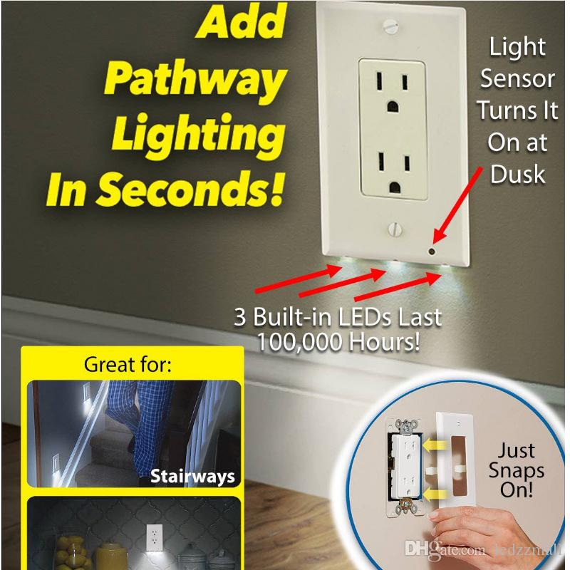 Best Plug Cover Led Night Light Wall Outlet Face Hallway Bedroom ...