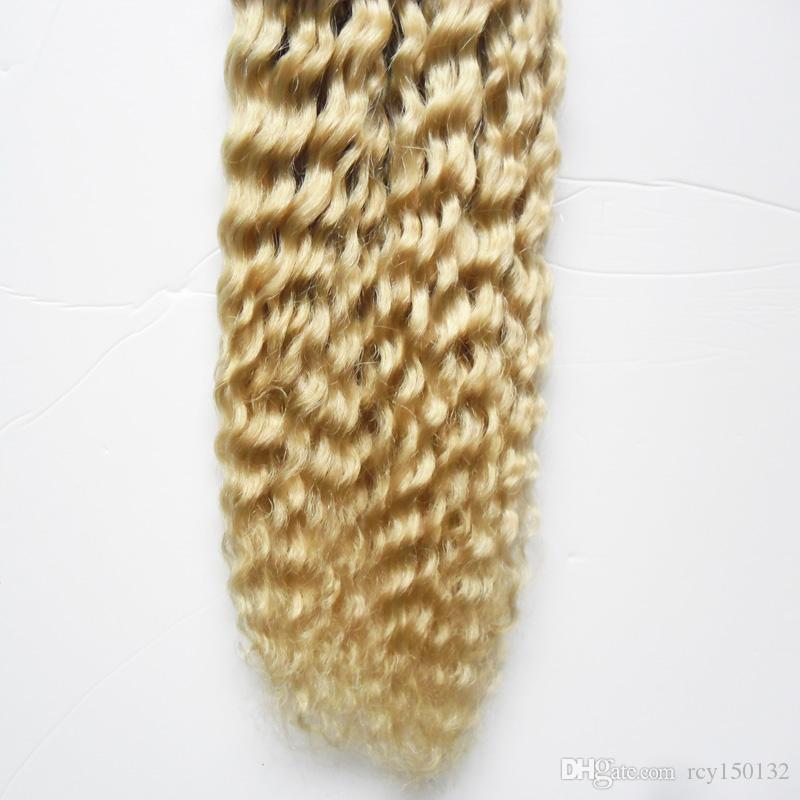 613 Bleach Blonde Brazilian human hair i tip hair 100g blonde 100s pre bonded keratin stick tip human hair