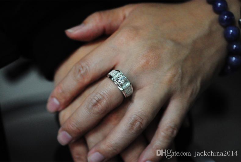 Taglia 8-13 all'ingrosso Brand New Fashion Men gioielli 10kt oro bianco riempito topazio diamante simulato pietra preziosa anelli di nozze coppia regalo