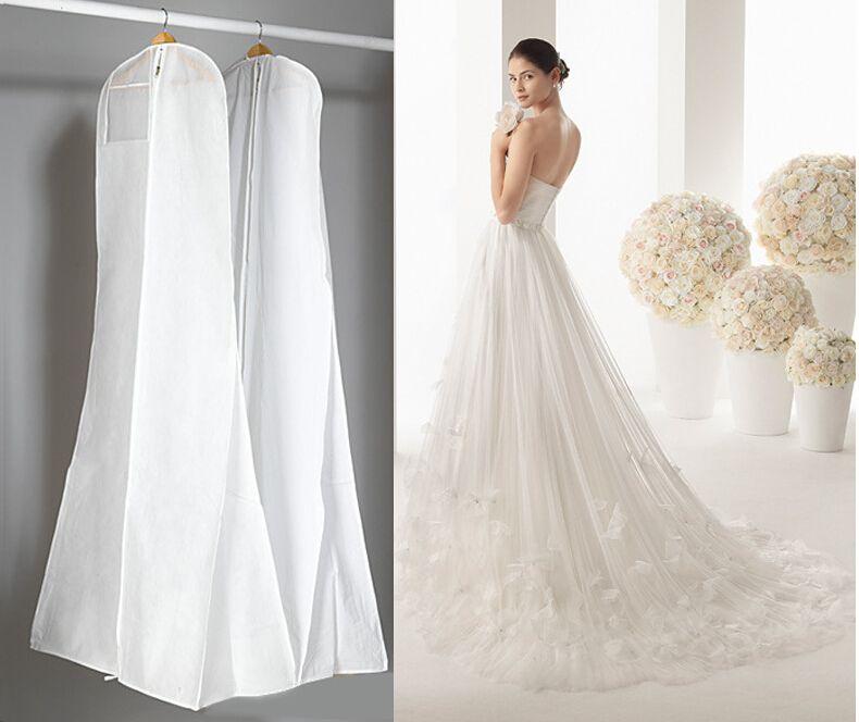 Classico abito da sposa abito da 180 cm Borse di alta qualità bianco sacchetto della copertura della polvere lungo indumento copertura di viaggio custodia parapolvere caldo