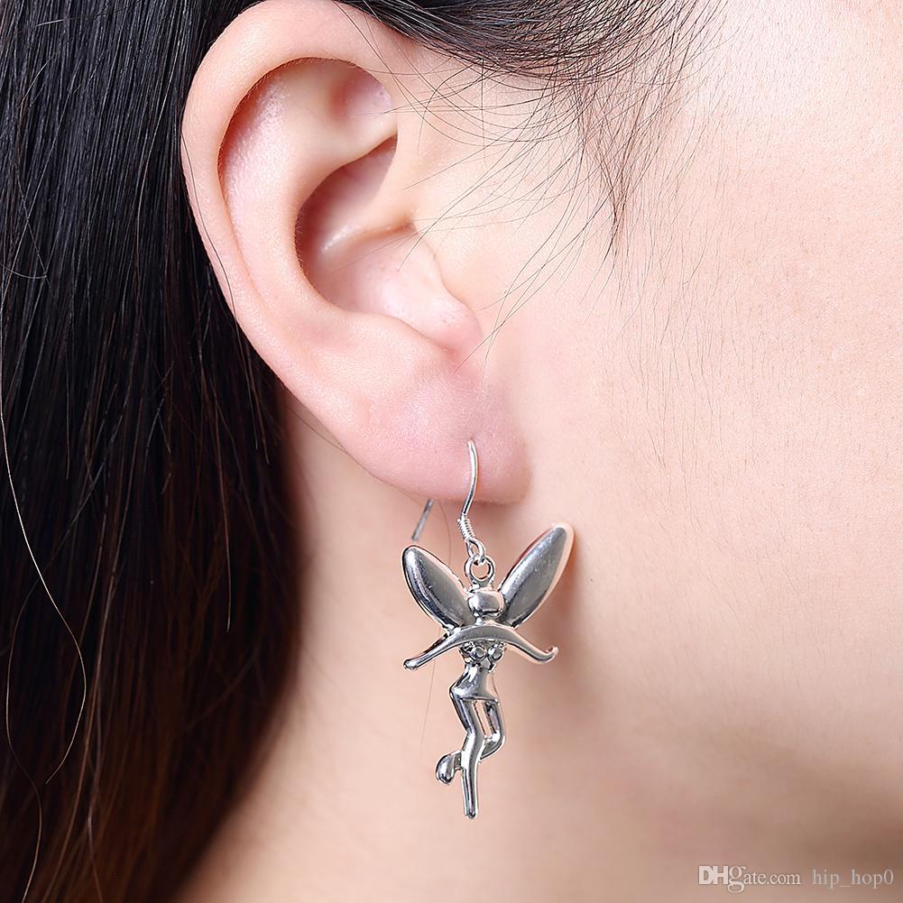 Гуманоид Крыло ангела серебряные серьги мода стерлингового серебра 925 позолоченные ювелирные изделия модные женщины мотаться серьги лучшие рождественские подарки для девочек