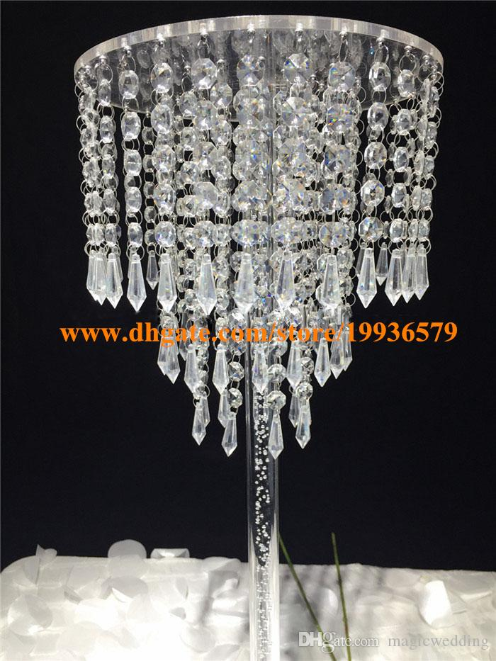 H70cm Crystal Pendant Chandelier 3-Tier sparkling acrylic beaded ring wedding centerpiece event party decoration