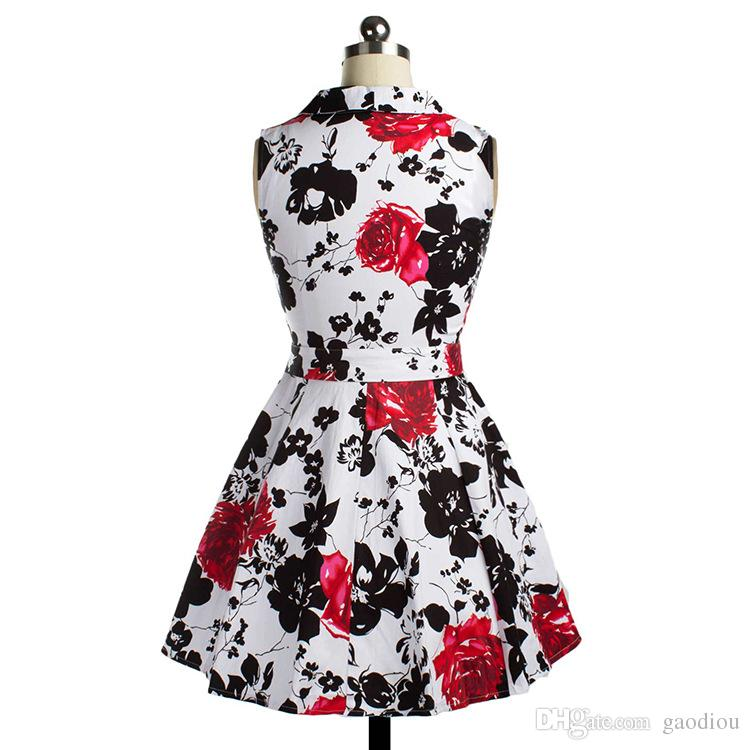 2016 spring or summer newest one piece of dress with rose print swing dress tailored collar vintage suit