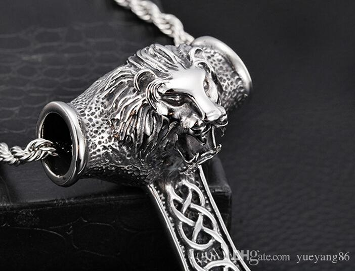 Gothic Men's Fine Gift Jewelry New Biker Stainless Steel Thors Hammer Men's Casting fierce Lion Head Pendant Necklace Chain