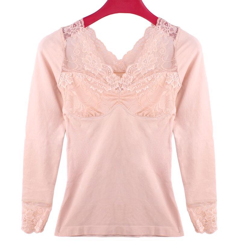 826807cbdf Wholesale- Lace V Collar Long Sleeved Corset Female Shape Abdomen ...