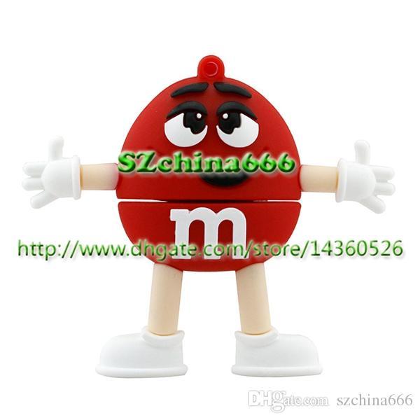 Novedad Silicon MM Chocolate M Bean Forma de dibujos animados 1GB 2GB 4GB 8GB 16GB USB Pen Drive PVC USB Flash Drives llavero